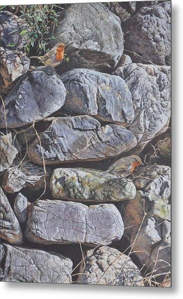 Metal Print featuring the painting Robins by Alan M Hunt