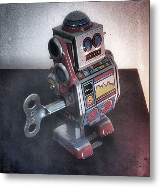 #robot #cyber #cyborg #steampunk Metal Print
