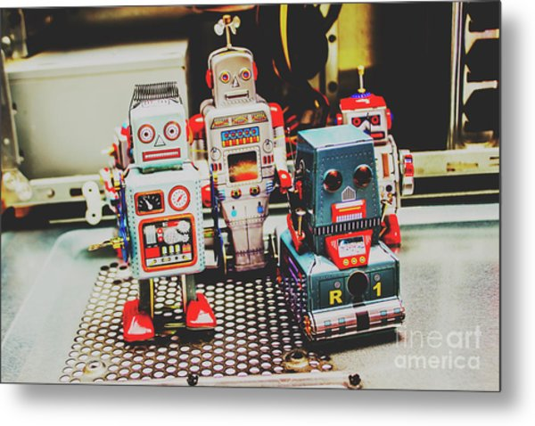 Robots Of Retro Cool Metal Print