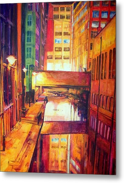 Rochdale Canal With Lock At Night Metal Print