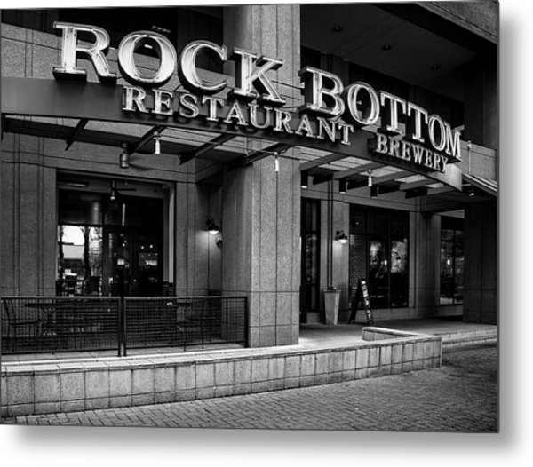 Rock Bottom Restaurant And Brewery In Black And White Metal Print by Greg Mimbs