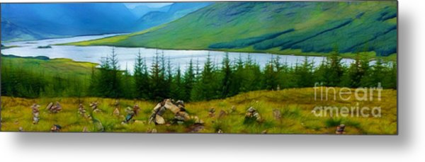 Rock Cairns In Scotland Metal Print