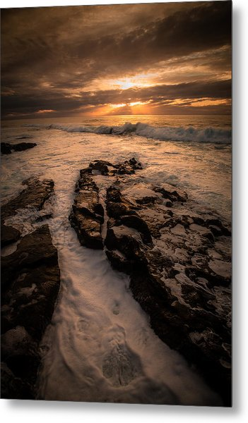 Rock Formations On The Shore Metal Print