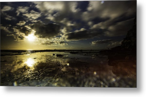 Rock Pool Sunrise Metal Print