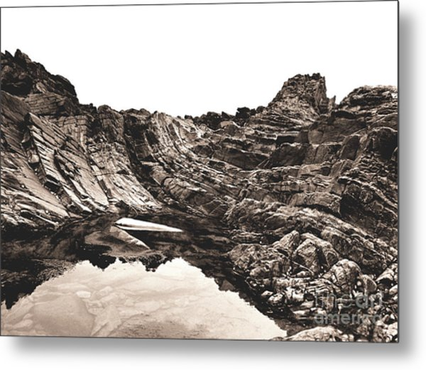 Rock - Sepia Metal Print
