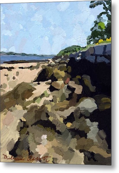 Rock Wall Looking South On Ten Pound Island, Gloucester, Ma Metal Print