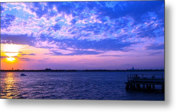 Rockaway Point Dock Sunset Violet Orange Metal Print