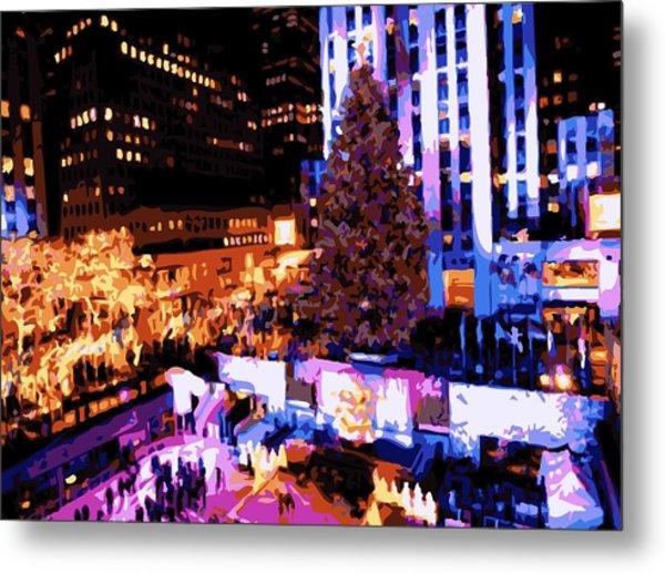 Rockefeller Tree Color 16 Metal Print