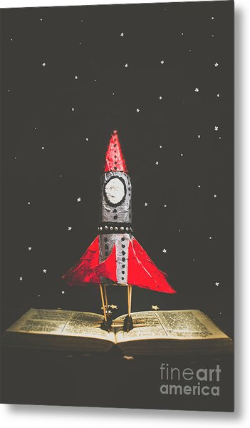 Rockets And Cartoon Puzzle Star Dust Metal Print