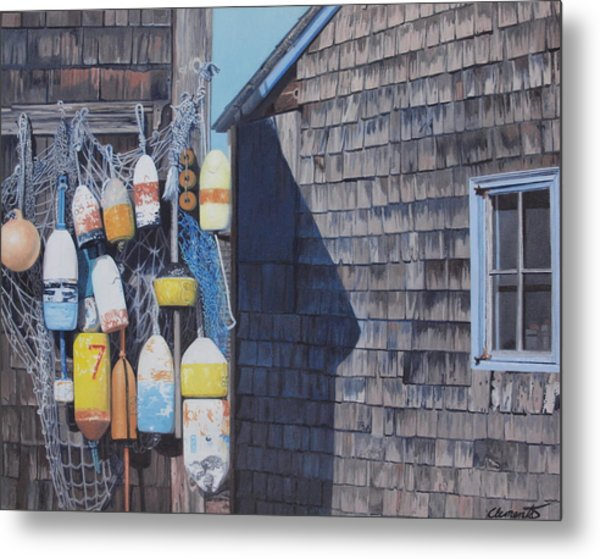 Rockport Fishing Shack With Lobster-buoys And Nets Metal Print
