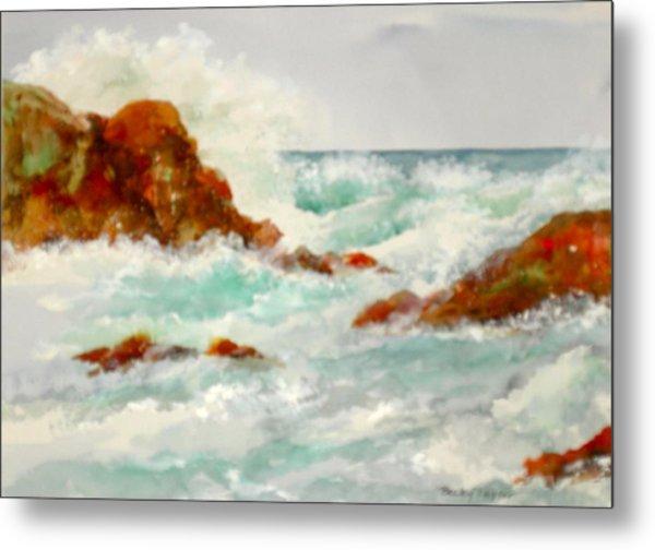 Rocks And Ocean Metal Print