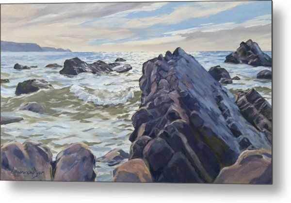 Rocks At Widemouth Bay, Cornwall Metal Print