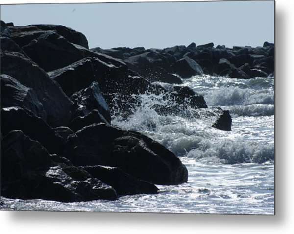Rocks On The Jetti At Cocoa Beach Metal Print