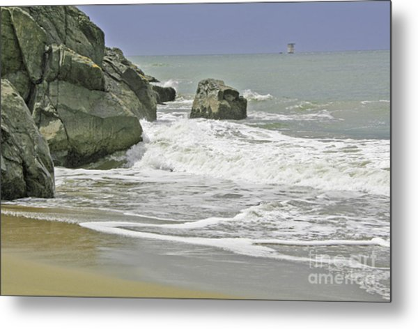Rocks, Sand And Surf Metal Print
