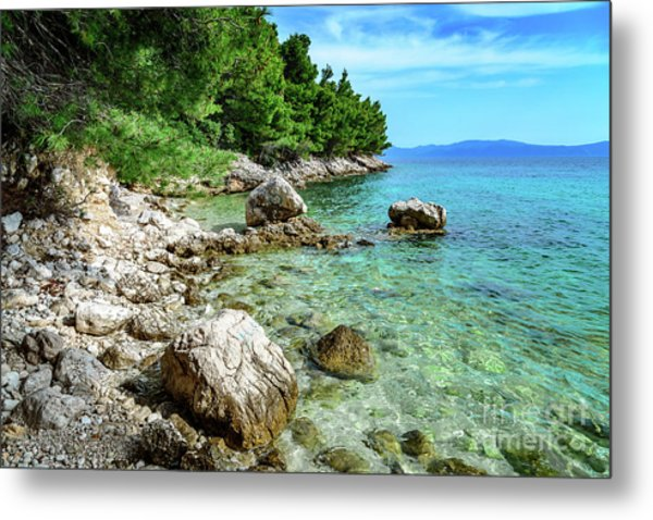 Rocky Beach On The Dalmatian Coast, Dalmatia, Croatia Metal Print