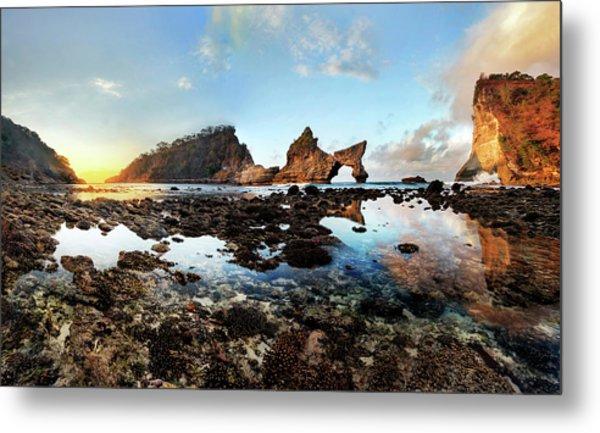 Rocky Beach Sunrise, Bali Metal Print
