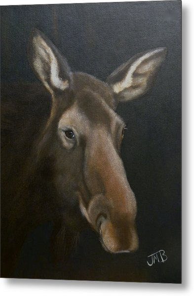 Rocky Mountain House Moose Metal Print by Janice M Booth