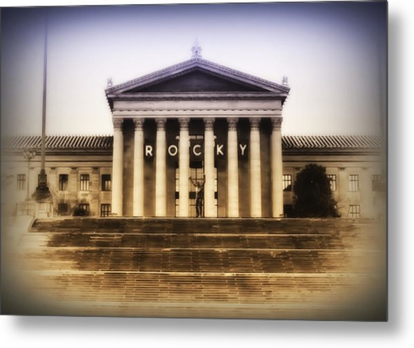 Rocky On The Art Museum Steps Metal Print