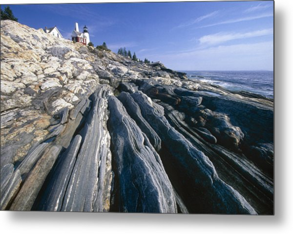Rocky Shoreline With A Lighthouse Pemaquid Point Maine Metal Print by George Oze