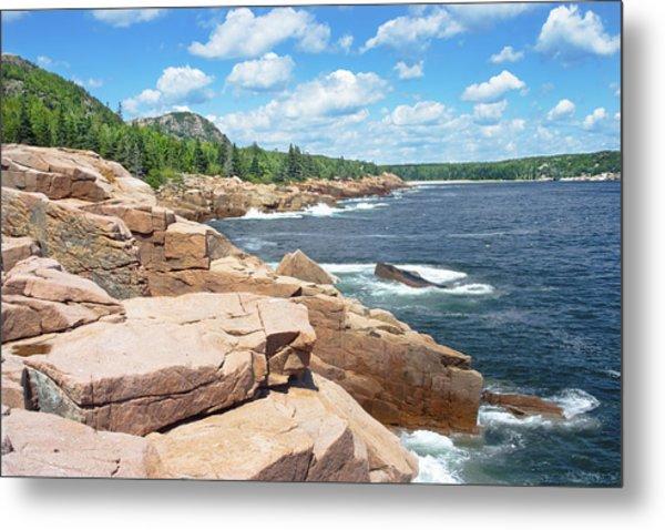 Rocky Summer Seascape Acadia National Park Photograph Metal Print