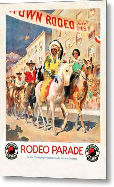 Rodeo Parade - Vintage Poster Restored Metal Print