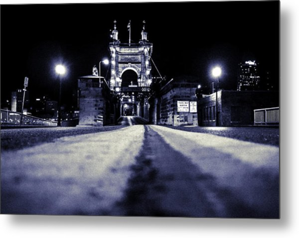 Roebling Suspension Bridge Metal Print