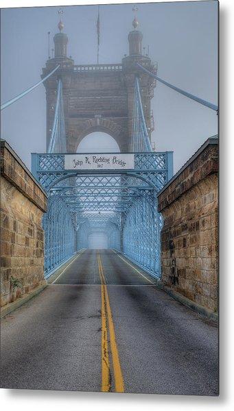 Metal Print featuring the photograph Roebling Suspension Bridge by Rick Hartigan