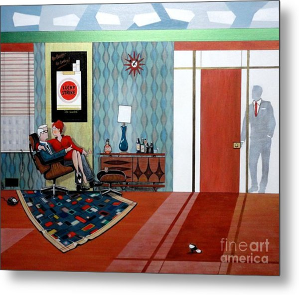 Roger Sterling And Joan Sitting In An Eames Metal Print