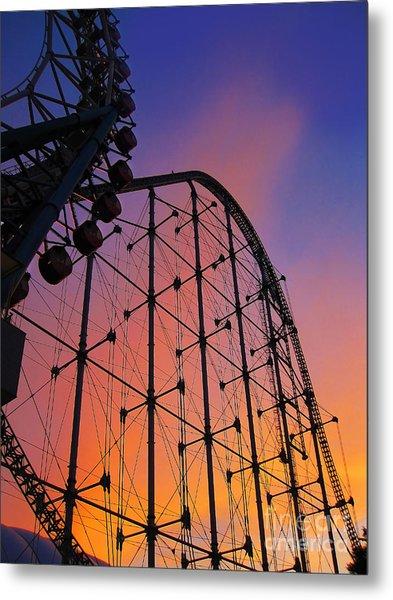 Roller Coaster At Sunset Metal Print