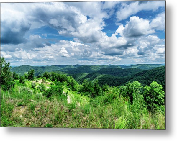 Rolling Hills And Puffy Clouds Metal Print