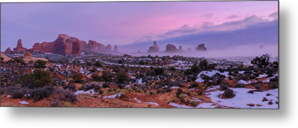 Rolling Mist Through Arches Metal Print