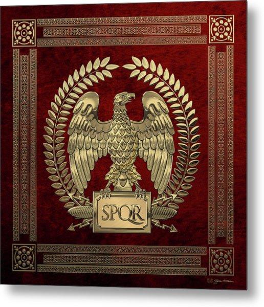 Roman Empire - Gold Imperial Eagle Over Red Velvet Metal Print