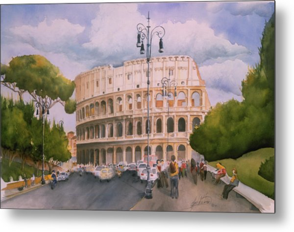 Roman Holiday- Colosseum Metal Print by Leah Wiedemer