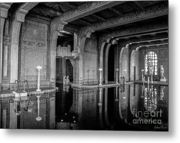 Roman Pool, Black And White Metal Print