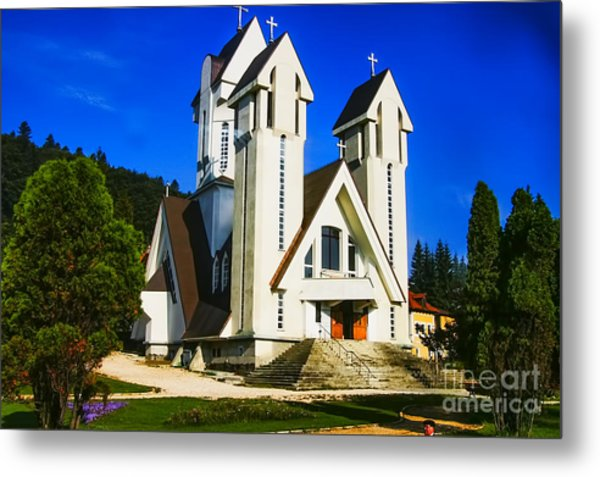 Romanian Church Metal Print by Rick Bragan