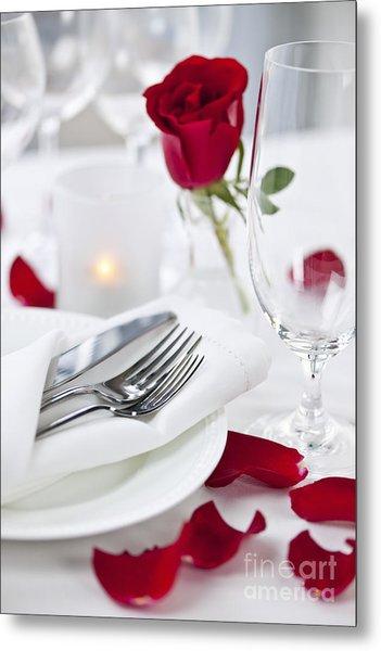 Romantic Dinner Setting With Rose Petals Metal Print