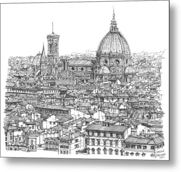Romantic Florence Skyline In Ink Metal Print by Building  Art