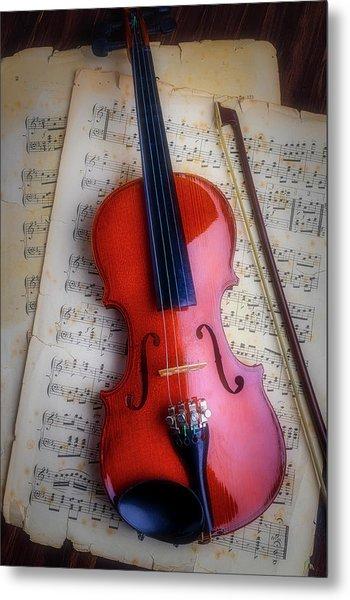 Romantic Moody Violin Metal Print