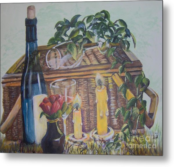 Metal Print featuring the painting Romantic Picnic by Saundra Johnson