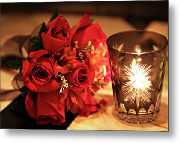 Romantic Red Roses In Candle Light Metal Print