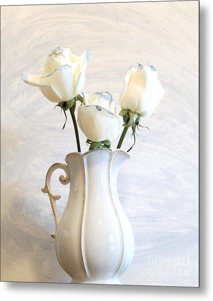 Romantic White Roses Metal Print by Marsha Heiken