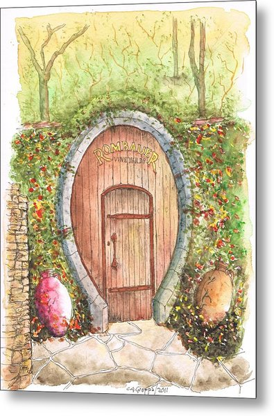 Rombauer Vineyard Entrance Door, California Metal Print