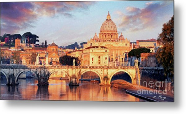 Rome The Eternal City - Saint Peter From The Tiber Metal Print