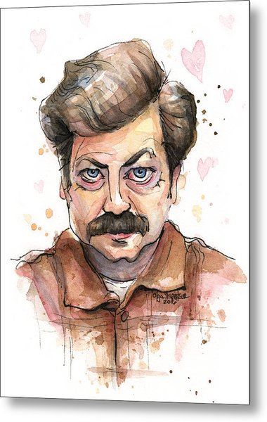 Ron Swanson Funny Love Portrait Metal Print