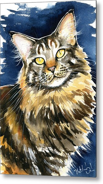 Ronja - Maine Coon Cat Painting Metal Print
