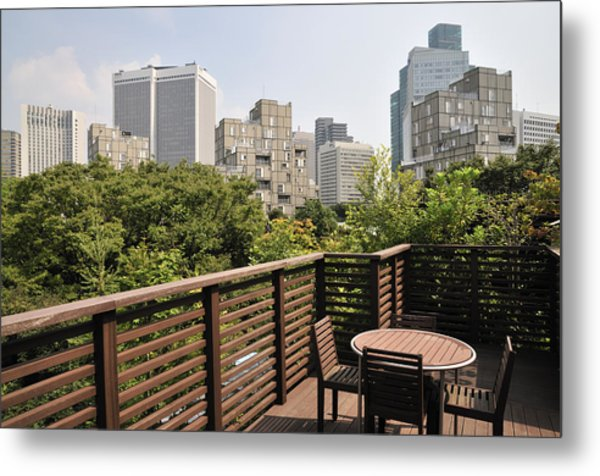 Roof Terrace Above Rappongi Tokyo Japan Metal Print by Andy Smy