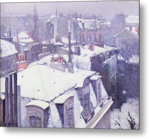 Roofs Under Snow Metal Print