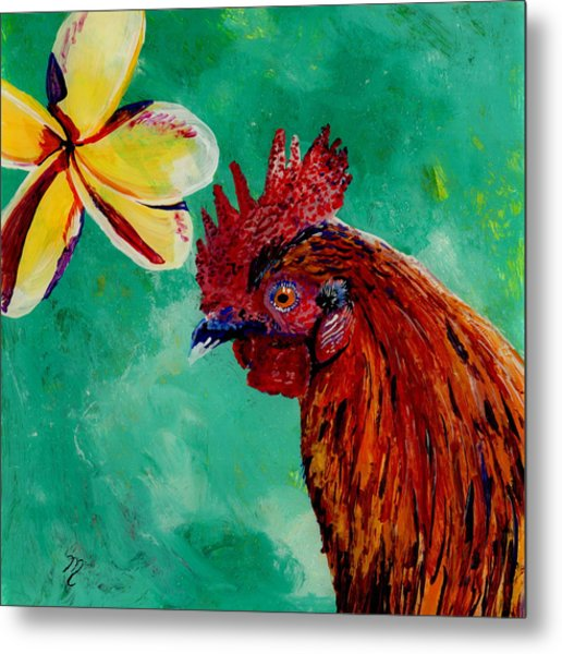 Rooster And Plumeria Metal Print