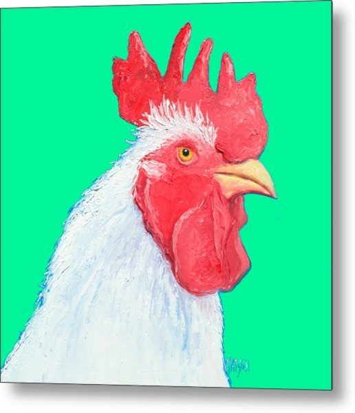 Rooster Art On Green Background Metal Print
