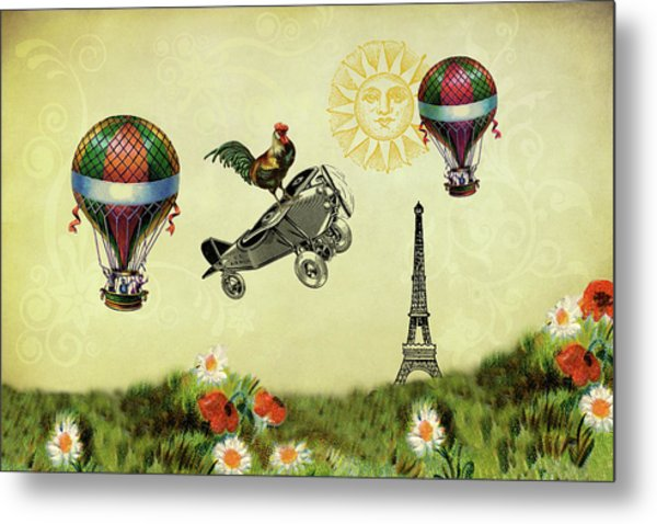 Rooster Flying High Metal Print